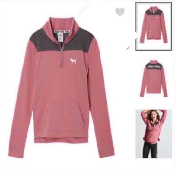 PINK Quarter Zip Sweater Pink & Grey Size S